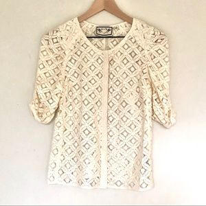 Anthropologie two of us white cream blouse 6